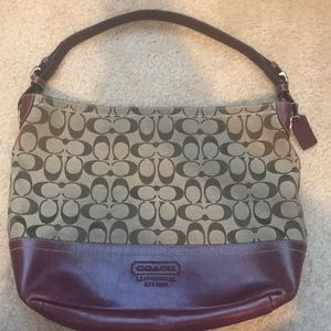 Authentic Coach Signature Bag w/ Burgundy Leather